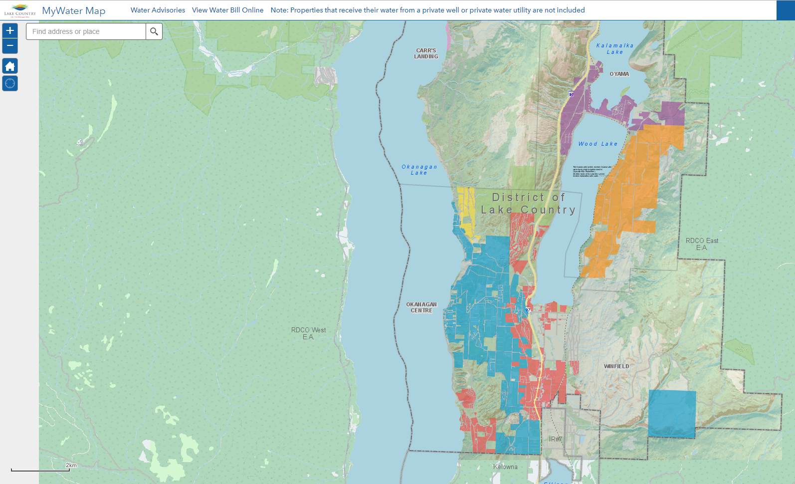 GIS map of water sources in Lake Country