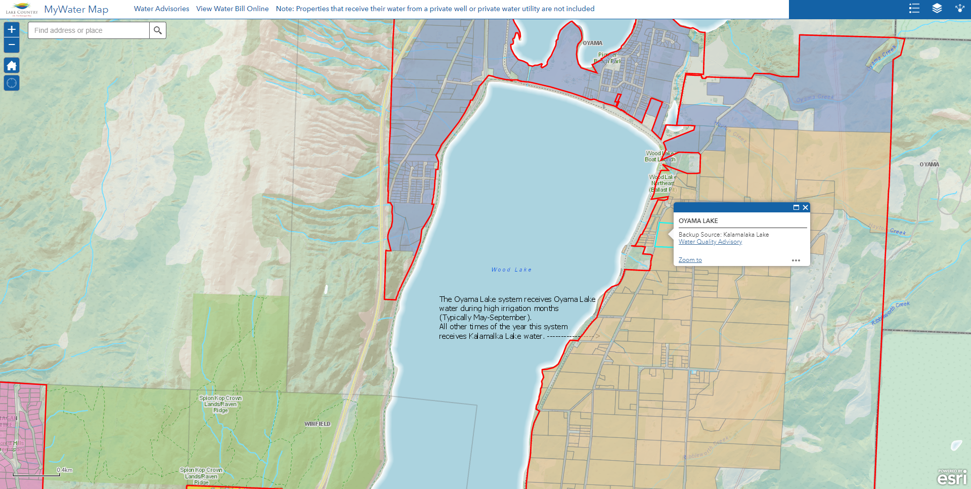 MyWater Map shows the water source for each property on the District of Lake Country distribution system